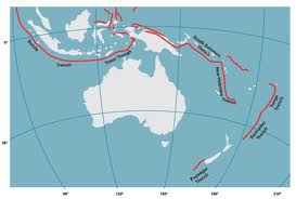 Subduction zone along tectonic plate boundaries (shown in red) around Australia that have the potential to generate a tsunami that may impact on Australia's coast (source: Geoscience Australia).
