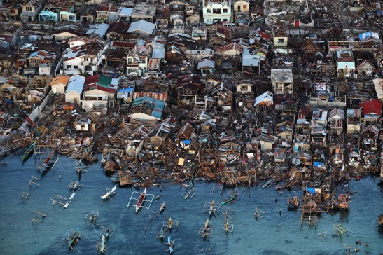 An aerial view of a demolished coastal town on Eastern Samar Island on November 14, 2013 in Leyte, Philippines. (Dan Kitwood/Getty Images)