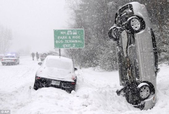 A furious winter snow storm stretching 2,000 miles has struck Canada and the US