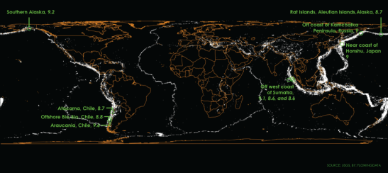 The map above shows the past century of known earthquakes with a magnitude of at least 5. Source: http://flowingdata.com/2014/04/15/mapping-a-century-of-earthquakes/