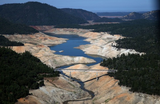 A section of Lake Oroville is seen nearly dry on August 19, 2014 in Oroville, California. As the severe drought in California continues for a third straight year, water levels in the State's lakes and reservoirs are reaching historic lows. Lake Oroville is currently at 32 percent of its total 3,537,577 acre feet. (Justin Sullivan/Getty Images)
