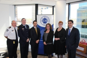 Pictured L-R: Bruce McDonald, Director Infrastructure Services NSW Rural Fire Service; Peter Cinque, Sydney Western Region Controller NSW State Emergency Service; Alastair McEwin, President of the Deaf Society Board; Sharon Everson, CEO of The Deaf Society; Hon. Marise Payne, Senator for Western Sydney and Human Services; Geoff Lee MP, State Member for Parramatta