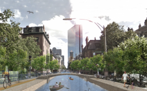 "A just-released resilience plan for Boston envisions canals in Back Bay. (Source: Urban Land Institute of Boston/New England's ""The Urban Implications of Living with Water""; Credit: Michael Wang, Arlen Stawasz, and Dennis Carlberg)"