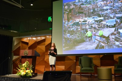 Dr. Lori Peek discusses the way children and youth deal with and respond to natural disasters at the LSC theater. (Photo Credit: Megan Fischer)