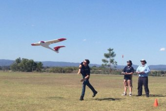 Participants learn to operate an unmanned aircraft in a training course at Minden in south-east Queenland. ABC News: Courtney Wilson