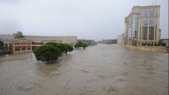 Flooded streets near the banks of the Lez River in the southern French city of Montpellier