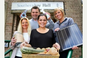 (L-R) Diane Moore, Nutshell Paints, Stuart Doderer, Green My Business, Chloe Doderer, ButlerEvents and Jenny Wilson, Sungift Solar, ahead of the Resilience Show 2014 at Southernhay Hall.