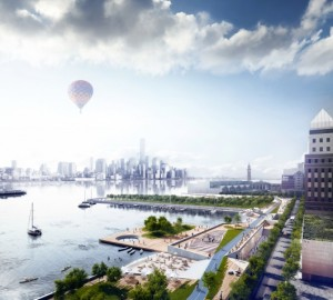 "OMA's proposed Hoboken Waterfront for the ""Rebuild by Design"" competition, which focused on resilience, sustainability and livability. Image Courtesy of OMA"