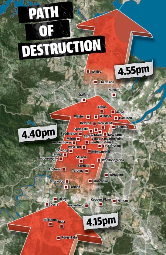The swath carved through Brisbane on Thursday afternoon. Source: CourierMail