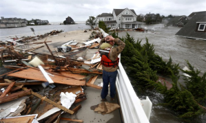 Hurricane Sandy hit New Jersey in 2012, having wreaked havoc in the Caribbean; the storm left 6 million people without electricity and claimed several lives Photograph: Julio Cortez/AP