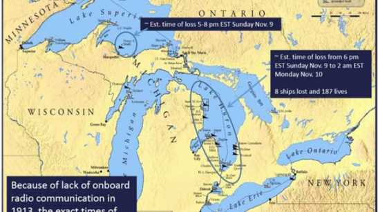 Locations of ships lost during the Great Storm of 1913. Most of the ships sunk were in Lake Huron. Courtesy Dr. Greg Mann, National Weather Service Detroit.