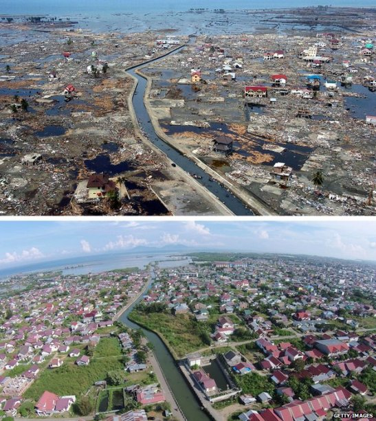 Aerial views of Banda Aceh, Indonesia, after the 2004 tsunami (top) and today