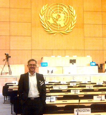 Professor Kevin Ronan pictured at the United Nations in Geneva.