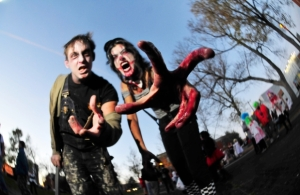 The skills you'll learn at the Edmonton Resilience Festival on Feb. 7 and 8 could help you prepare for a zombie apocalypse. Joachim Neumannand Scheherazade Showleh pose for a photo before the start of the zombie parade in this file photo. Photograph by: Walter Tychnowicz , Edmonton Journal