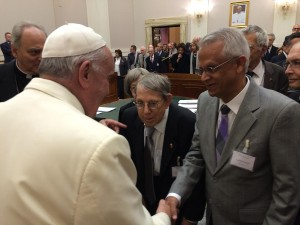 "Above: ""Ram"" Ramanathan meets Pope Francis during a Vatican meeting on climate change, May 2014."