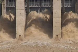 Photo: Water released from Callide Dam inundated hundreds of homes in central Queensland. (ABC News)
