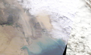 Aerial view of the dust storm sweeping across western Iran earlier today. Photograph: Modis/Nasa