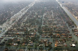 A photo of New Orleans, La., on Sept. 14, 2005, two weeks after Hurricane Katrina ravaged the city. Direct damage to the city was estimated at $80 billion and the city's loss continues at an estimated $15 billion in GDP per year. FEMA/Bob McMillan