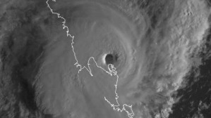 The intense eye of Cyclone Marcia as it neared the Queensland coast. Photo: US Navy
