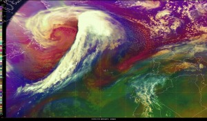 Infrared satellite image of the sprawling, intense storm in the North Atlantic on Tuesday afternoon.