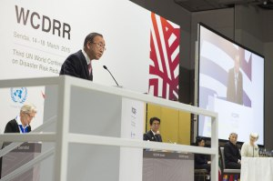 Secretary-General Ban Ki-moon addresses the Third World Conference on Disaster Risk Reduction in Sendai, Japan. UN Photo/Eskinder Debebe
