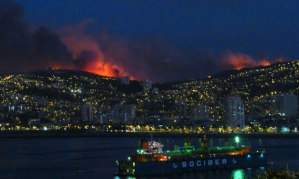 Facebook  Twitter  Pinterest   Flames light up the night sky above Valparaiso. Photograph: Reuters