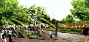 A rendering of Hoboken's Southwest Resiliency Park.