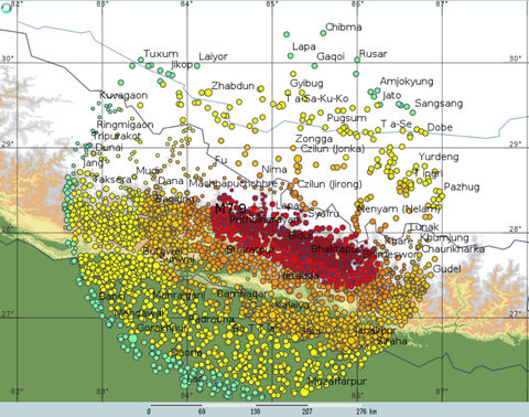 A map of the estimated intensity of shaking in settlements within 200 kilometers (124 miles) of the epicenter of the April 25, 2015, earthquake in Nepal.Credit Max Wyss
