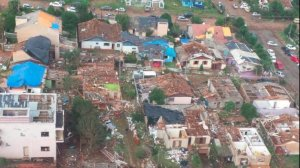Aerial photo of the damage done by a tornado in Xanxerê, Brazil.(Battalion of Air Operations - Santa Catarina Military Firefighters)