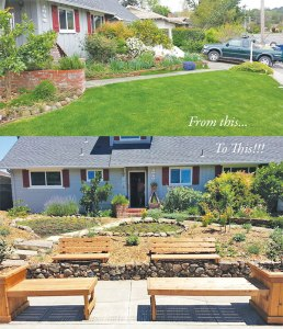 Before and after transformation of Nancy and Jim's lawn from May 2014