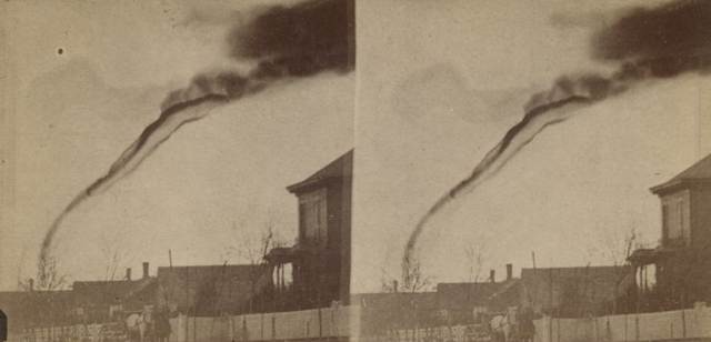 The First Tornado Photograph Nature can be a destructive force, and this image of a Tornado was taken in 1884. The photographer was captured by a local fruit farmer living in Anderson County, Kansas. The amateur photographer, A.A. Adams, assembled his box camera and took the photograph 14 miles from the cyclone.