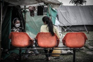 Thousands of traumatised survivors spent the night outdoors, afraid to return to their houses after the 7.3-magnitude quake hit May 12, 2015, less than three weeks after the country was devastated April 25, 2015 by its deadliest quake in more than 80 years.  (Photo by Jay Shaw Baker/NurPhoto) *** Please Use Credit from Credit Field ***