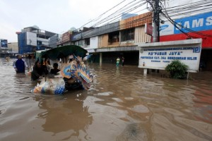 Heavy flooding in Jakarta, Indonesia. Credit: Bigstock