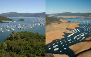 California currently faces a drought of historic proportions (here: Lake Oroville, CA)