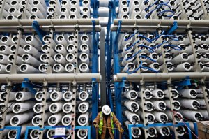 A hundred million gallons of ocean water will be pumped through the Carlsbad Desalination Project each day. Credit Photograph by Gregory Bull/File/AP