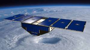 Artist's concept of a CYGNSS Satellite (Credit: NASA)  Image Gallery (2 images)