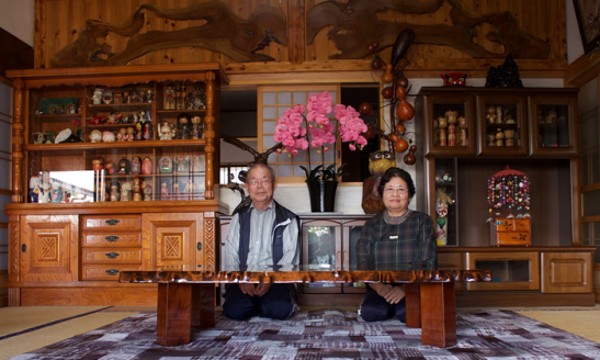 Kohei and Tomoko Yamauchi at their home in Naraha. Photograph: Justin McCurry for the Guardian