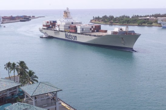 The R.J. Pfeiffer, a Matson container ship, pulls into Honolulu Harbor Thursday, Oct. 3, 2002. The ship left the west coast before the docks shut down in a labor dispute. The container ship will be the last to dock in Hawaii until the labor dispute is resolved. (AP Photo/Ronen Zilberman)