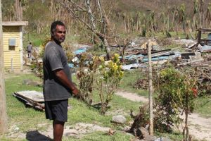 Photo: Farmer Semi shows the damage post Cyclone Winston. (CARE Australia: Dylan Quinnell