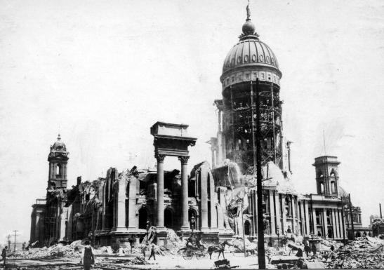 Destroyed Civic Center: The remains of San Francisco City Hall after the 1906 earthquake.