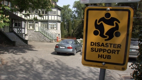 All Vancouver disaster support hubs will be marked with signs.