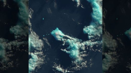 Nobody lives near Mount Sourabaya, but a NASA satellite captured its eruption in the South Atlantic in this false-color image. (NASA Earth Observatory image by Jesse Allen, using Landsat data from the U.S. Geological Survey)