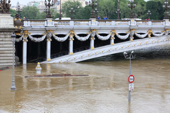 From Notre Dame to the Eiffel Tower the Seine River overflowed.