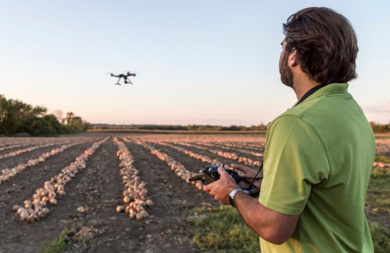 Laval, Сanada - September 23, 2015: Drone Flying At Sunset over an onions field. The drone is a Yuneec Typhoon Q500+ equipped with a 4k camera.