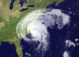 An atmospheric image of Hurricane Irene on the U.S. East Coast in August 2011.