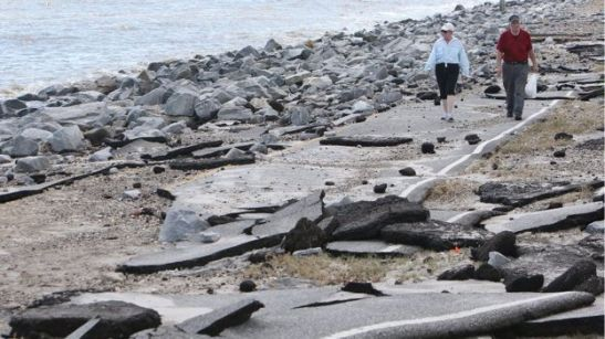 Sea water during the hurricane ripped up huge stretches of road in Alligator Point, Florida  Source: http://www.bbc.com/news/world-us-canada-37248359