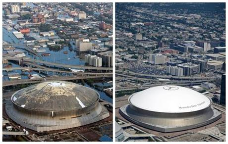 FILE - This combination of Aug. 30, 2005, left, and July 29, 2015 aerial photos shows downtown New... Read more