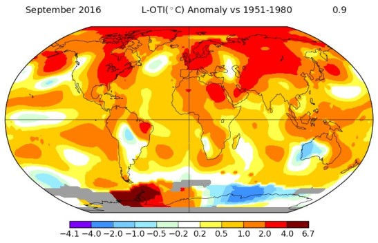 "Last month ""was the warmest September in 136 years of modern record-keeping,"" reports NASA's Goddard Institute for Space Studies (GISS)"