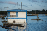 A residence is inundated by floodwaters on Oct. 12, near Lumberton, North Carolina.