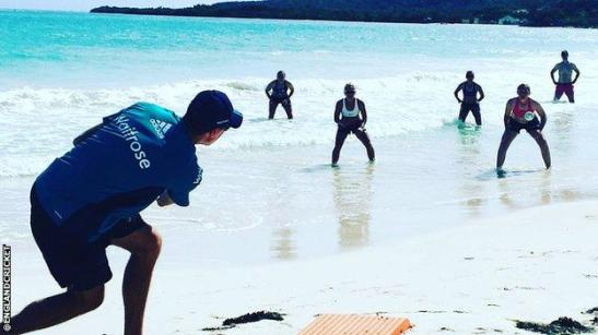 England's women were forced to train on the beach ahead of their one-day international series in Jamaica because of the advance of Hurricane Matthew.